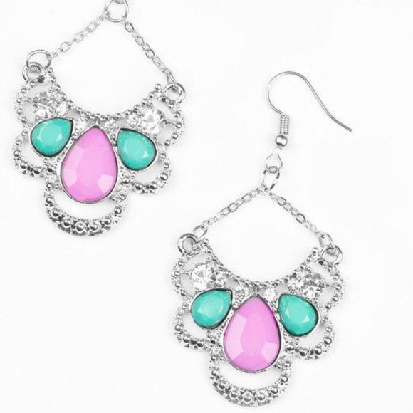 J56 Pink and green earrings